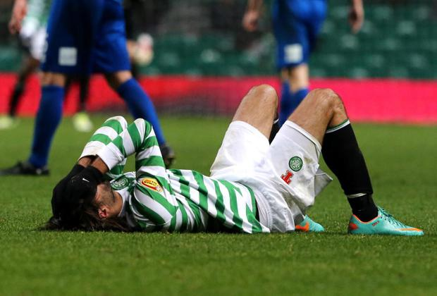 Celtic's Georgios Samaras reacts on the pitch during the Clydesdale Bank Scottish Premier League match against Inverness at Celtic Park