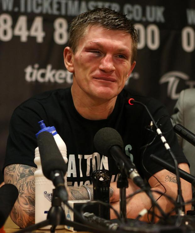 Ricky Hatton speaks to the media to announce his retirement during a press conference at the Manchester Arena