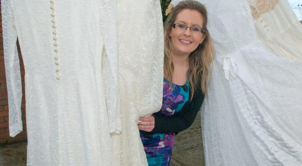 Rachel Bruce from the Foyle Hospice gets ready for the Brides Across the Bridge event