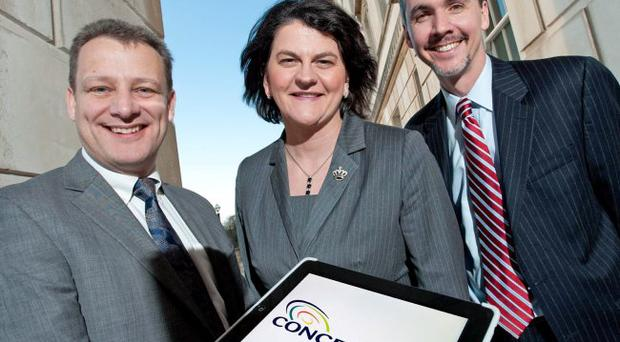 Enterprise minister Arlene Foster with Jeremy Fitch (left), of Invest Northern Ireland and Christopher Caldwell, President, Concentrix Corporation