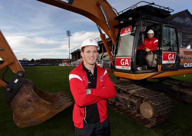 Rory Best gets to work, cutting the first sod on the redevelopment of Ravenhill with Craig Gilroy lending a helping hand