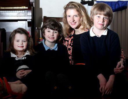 Christine O'Toole with her children, Lucy, Adam and Rory