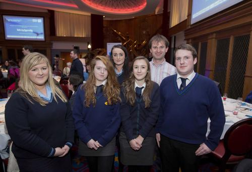 St Louis Grammar School students Catherine Doherty and Nicole McErlain and Shimna Integrated College students Chloe Rice, Sinead Murray, and Ryan Ciarns meet Neil Buchanon from Flish at the Generation Innovation annual event at Titanic Belfast on Tuesday, November 20