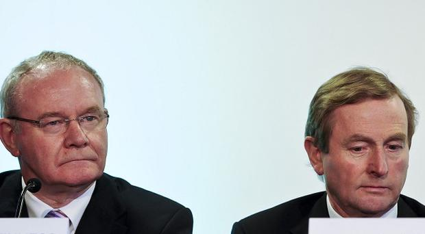 Taoiseach Enda Kenny and Northern Ireland Executive deputy First Minister Martin McGuinness during a press conference at the British-Irish council