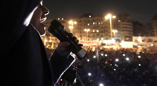 Former Egyptian presidential candidate Hamdeen Sabahi speaks during a demonstration in Tahrir Square, Cairo (AP pic)