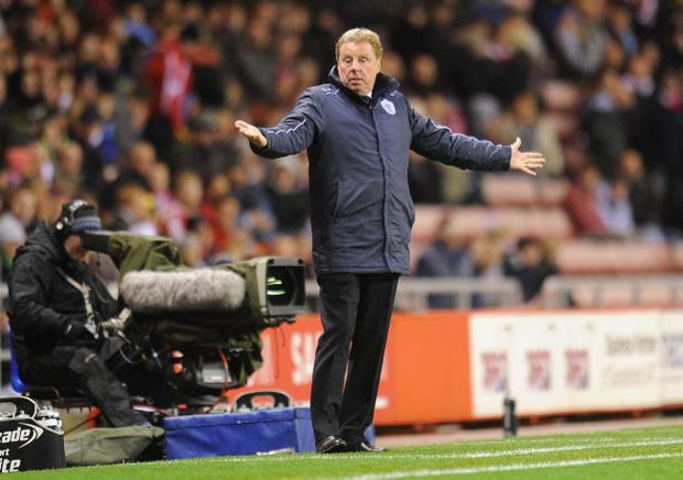 QPR manager Harry Redknapp during the Barclays Premier League match at the Stadium of Light, Sunderland