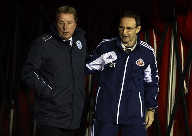 QPR Manager Harry Redknapp (left) with Sunderland manager Martin O'Neill before the Barclays Premier League match at the Stadium of Light, Sunderland