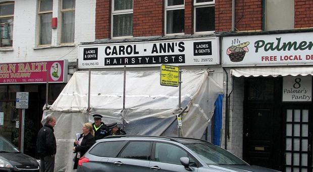 The shooting took place at Carol Ann's Hair Stylist in Newport