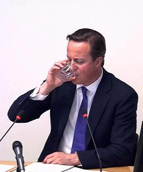 Prime Minister David Cameron as he testifies at the Leveson Inquiry