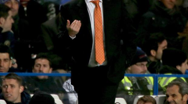 Chelsea interim manager Rafael Benitez on the touchline during the Barclays Premier League match at Stamford Bridge