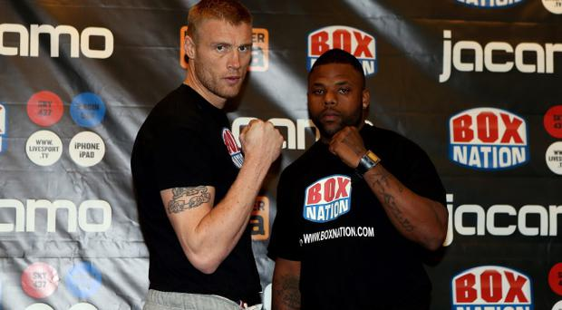 MANCHESTER, ENGLAND - NOVEMBER 29: Andrew Flintoff and Richard Dawson the weigh in for their Heavyweight bout at The Hilton Hotel on November 29, 2012 in Manchester, England. (Photo by Scott Heavey/Getty Images)