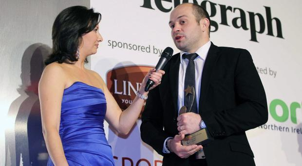 Rory Best talks to presenter Claire McCollum after landing the coveted Belfast Telegraph Player of the Year award last year