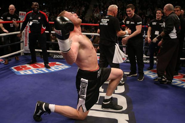 Andrew Flintoff celebrates his victory over Richard Dawson during the International Heavyweight Contest at the Manchester Arena, Manchester. PRESS ASSOCIATION Photo. Picture date: Friday November 30, 2012. Photo credit should read: Dave Thompson/PA Wire
