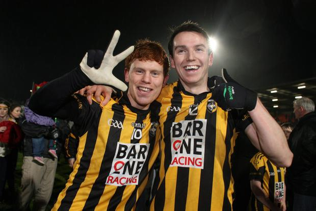Kyle Carragher and Tony Kernan of Crossmaglen celebrate at the end of the game