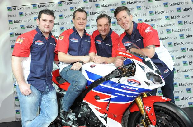 Michael Dunlop (left) joins new Honda Legends team-mates John McGuinness, Michael Rutter and Simon Andrews