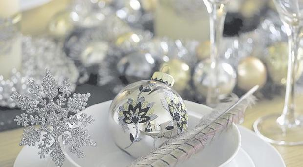Bauble £2.49; wreath £9.99; 24 snowflakes £4.99, Homebase