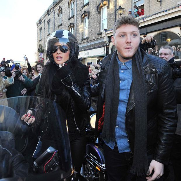 X-Factor finalist James Arthur and mentor Nicole Scherzinger arrive at the Victoria pub