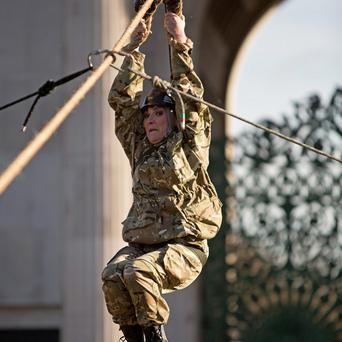 Lorraine Kelly descends the zip line from Wellington Arch