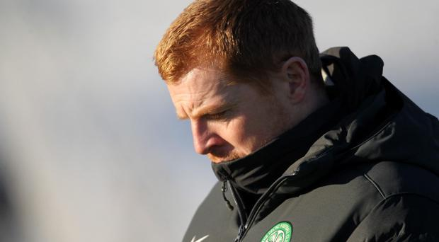 Celtic's Neil Lennon during a training session at Lennoxtown, Glasgow yesterday