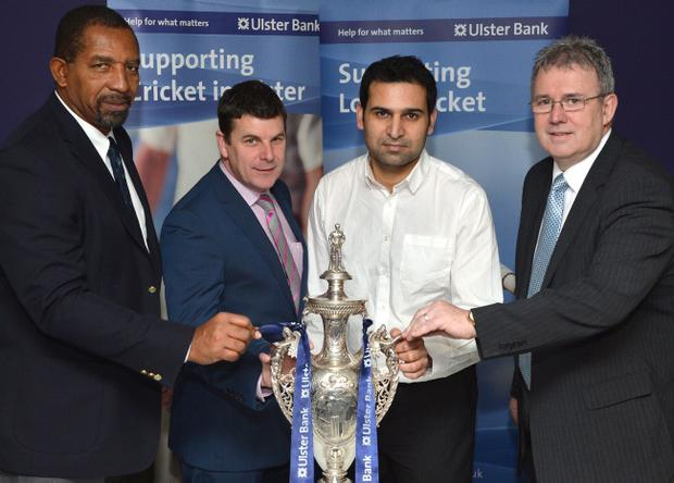 Andrew Rose of NCU Ulster Bank Cup holders Instonians (second left) and Taimur Khan of League champions CIYMS at the draw which saw the two top sides pitted against each other in next year's cup competition