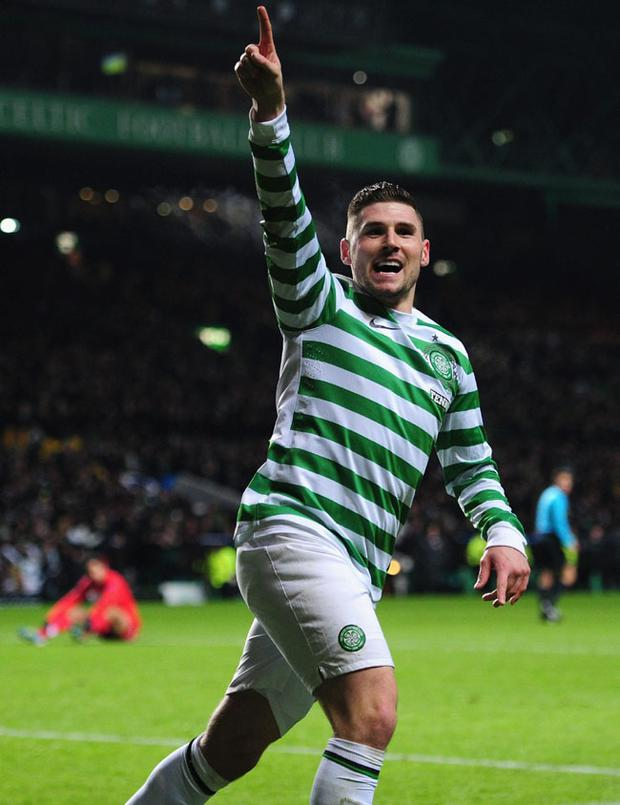 Celtic striker Gary Hooper celebrates after scoring the first goal during the UEFA Champions League Group G match between Celtic FC and FC Spartak Moscow