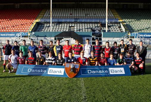 The captains of the participating schools get together at Ravenhill, where the Danske Bank Ulster Schools Cup draw took place