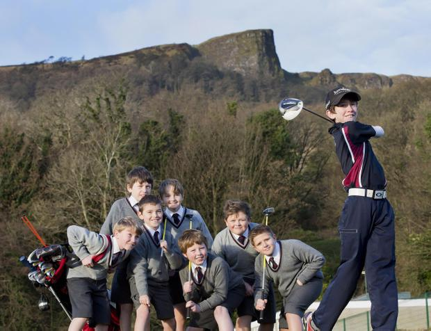 Ben Madigan Prep class-mates watch in admiration as Tom McKibbin drives his way to the 2013 World junior championships