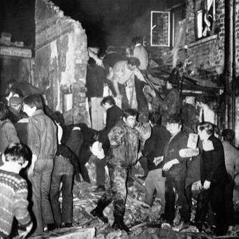 The aftermath of the sickening McGurk's Bar bombing in 1971 which claimed 15 lives, including John McGurk's mother, sister and uncle