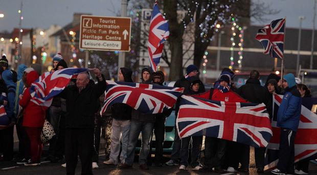 A loyalist Union Flag protest in December 2012