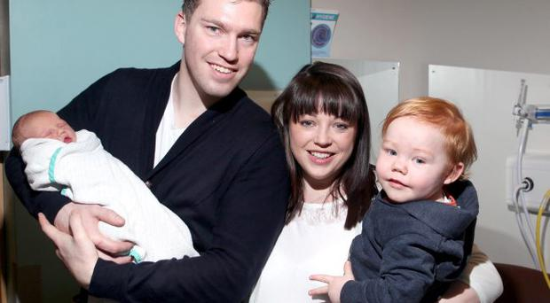 06.12.12. PICTURE BY DAVID FITZGERALD Registrar Page. Aaron and Catherine Quinn pictured with new-born baby boy Ty and 20 Month old son Ezra