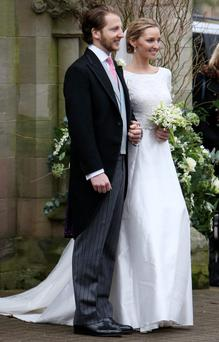 Bride and groom Alex Roupell and Emma Logue in Holywood, Co Down, where Pippa Middleton was one of the guests