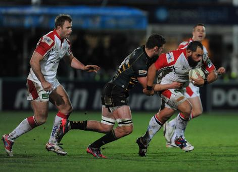 John Afoa (right) is closed down by Calum Clark