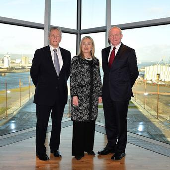 US Secretary of State Hilary Clinton with First Minister Peter Robinson (left) and Deputy First Minister Martin McGuinness at Titanic Belfast