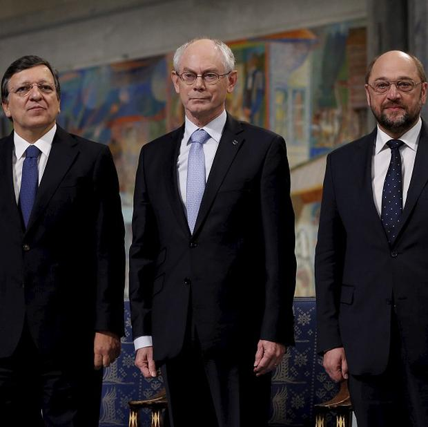 Jose Manuel Barroso, Herman Van Rompuy and Martin Schulz accepted the Nobel Peace Prize on behalf of Europe (AP)