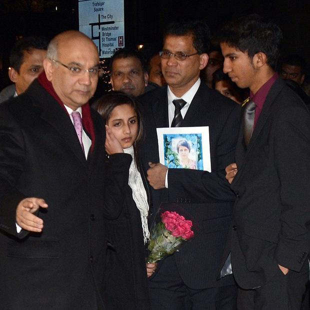 Keith Vaz with the family of Jacintha Saldanha