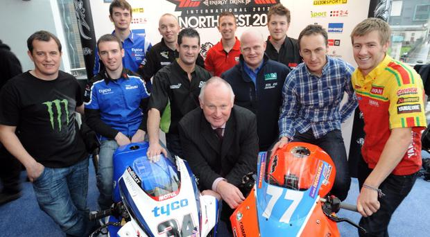 The star-studded guest list for January bike awards includes, from left, John McGuinness, Alastair Seeley, Conor Cummins, John Burrows, Denver Robb, Steve Mercer, Kirk Jamison, Brian McCormack, Jeremy McWilliams, Ian Hutchinson and, front, Vauxhall International North West 200 race chief Mervyn Whyte