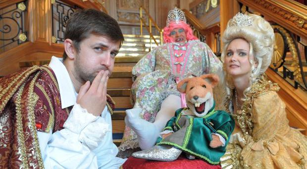 Basil Brush with fellow cast members Prince Charming (Mark Adamson), the Fairy Godmother (May McFettridge) and Cinderella (Jayne Wisener)