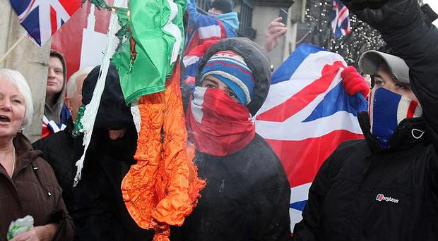 Loyalists have been protesting against a decision to stop flying the Union flag every day outside Belfast City Hall