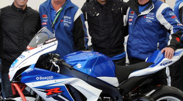 PACEMAKER, BELFAST, 6/6/2012: Bike racing legends Randy Mamola, and Kevin Schwantz with Tyco Suzuki team bosses Hector and Philip Neill at this year's Isle of Man TT PICTURE BY STEPHEN DAVISON