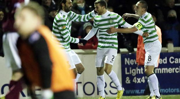 Celtic's Adam Matthews (centre) scored the only goal of the game