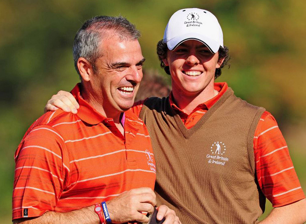 Paul McGinley with Rory McIlroy at the Vivendi Trophy in 2009