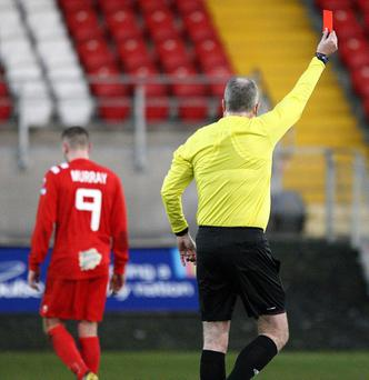 Darren Murray is sent off to leave Portadown with just nine men
