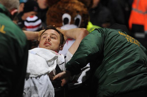 Tommy Bowe is stretchered off the Ravenhill pitch on Saturday