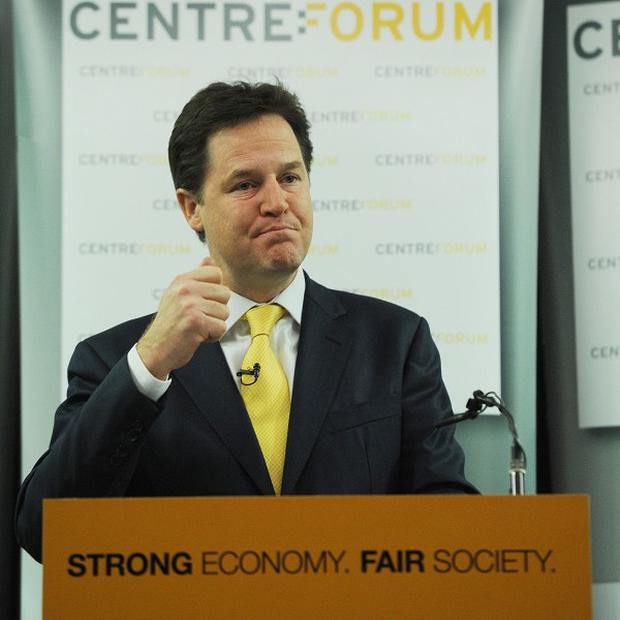 Deputy Prime Minister Nick Clegg addresses the Centre Forum in London on delivering a strong economy and fair society