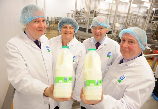 Enterprise Minister Arlene Foster opened dairy co-operative Dale Farm's new milk and cream facility at Pennybridge, Ballymena. She was joined by (from left) Dale Farm Group chief executive David Dobbin, supply chain director Stephen Cameron and John Dunlop, chairman of parent company United Dairy Farmers