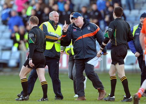 Paul Grimley (centre) may have his Armagh debut delayed