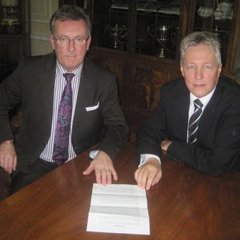 Ulster Unionist leader Mike Nesbitt and First Minister Peter Robinson were among those holding talks about the Union flag dispute in Belfast