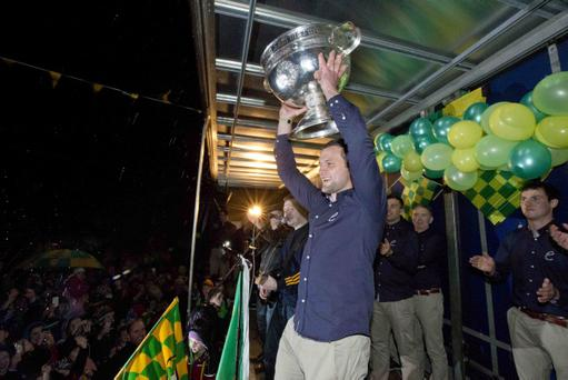 Captain Michael Murphy shows off Sam Maguire following Donegal's memorable All-Ieland win
