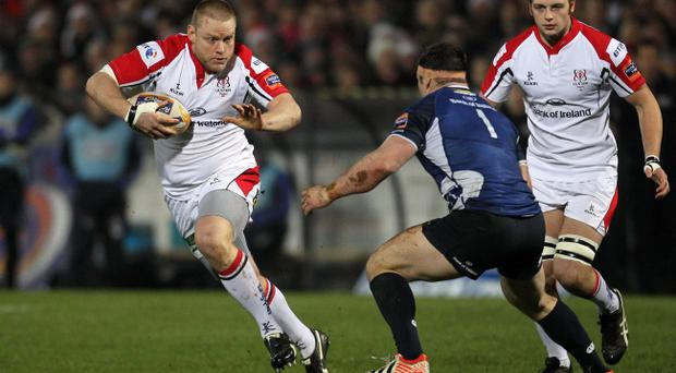 Tom Court (left) in action against Leinster