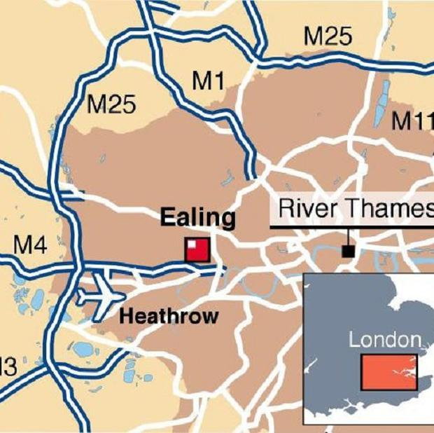 Map locating Ealing, west London, where a couple were found dead